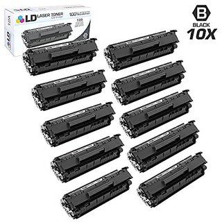 LD © Compatible Replacements for HP Q2612A / 12A Set of 10 Black Laser Toner Cartridges for HP LaserJet Printer Ser