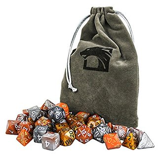 Elemental Earth Dragon Dice Set Includes 5 Unique Polyhedral 7-Die Dragons Play Dice Sets - FREE Large Velvet Dice Bag