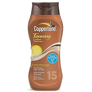 Coppertone SPF 15 Water Resistant UVA/UVB Protecion Tanning Sunscreen Lotion, 10 Ounce