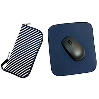 Travel Mouse Pad Pouch (Navy Stripe)