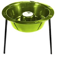Platinum Pets Large Slow Eating Tripod Saucer Single Raised Feeder, Corona Lime