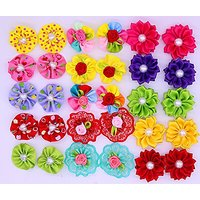 Yagopet 40pcs/20pairs Dog Hair BowsTopknot Rubber Bands Mix Round Bows Pearls Petal Flowers Dog Topknot Bows Pet Dog Gro