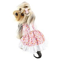Adorable Flower Picnic Dress With Ruffled Back For Small Dogs - XS