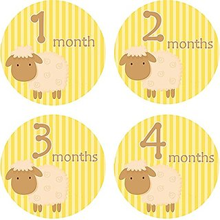 Home-organizer Tech Baby Month Stickers Cartoon Sheep Boy Girl 1-12 Monthly Milestone Sticker Best Birthday Shower Gift