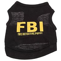 Haogo Pet Puppy Shirt Small Dog Pet Clothes FBI Pattern T-Shirt Black S