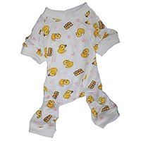 Cute Yellow Duck Print Cotton Pet Dog Pajamas For Small Dogs Small Animals, Medium White