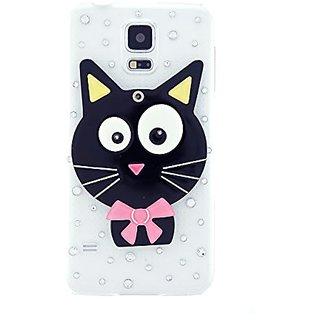 CaseBee Cute Series - Cute 3D Black Kitty Cat w/ Mirror Samsung Galaxy S5 i9600 Case - Handmade Bling Bling Rhinestones