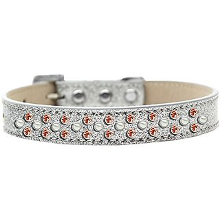 Mirage Pet Products Sprinkles Ice Cream Dog Collar with Pearl and Orange Crystals, Size 20, Silver