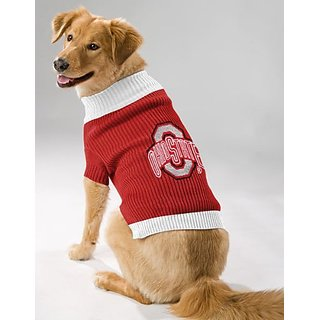 OHIO STATE BUCKEYES DOG PET EMBROIDERED SWEATER - XS S M L - LICENSED (Large)