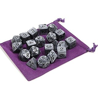 Dice Silver Pearlized Swirl Polyhedral 20-Piece Set _ Bonus Purple Velveteen Drawstring Storage Pouch _ Bundled Items