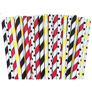 HI-BOOM Paper Straws Baseball Patriotic Birthday Party Supply- Picnic 100%Biodegradable 7.75 Inches Pack of 100 (3)