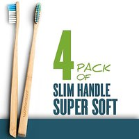 Woo Bamboo SLIM Toothbrush With SUPER SOFT Bristles - Family FOUR PACK