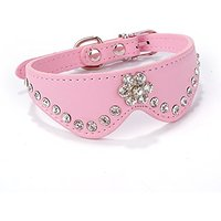 WINOMO Flower Style Decorated Soft PU Adjustable Puppy Safety Collar - Size XS (Pink)