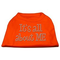 Mirage Pet Products 12-Inch Its All About Me Rhinestone Print Shirt For Pets, Medium, Orange