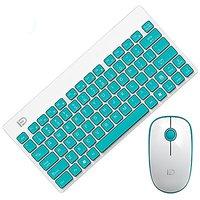 GranVela 1500 2.4G Slim Portable Wireless Keyboard And Mouse Set For Laptop Desktop Tablet - WhiteBlue