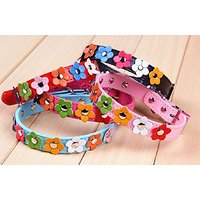 ONOR-Tech Lovely Cute Flower Design Adjustable PU Leather Pet Dog Cat Puppy Collar