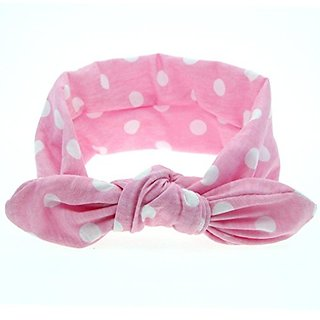 Yoyorule New Baby Rabbit Ears Elastic Wave Point Bowknot Headband (Pink)