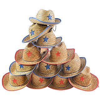 Child Straw Cowboy Hat - 12 Straw Cowboy Hats W/ Sheriff Badge Funny Party Hats