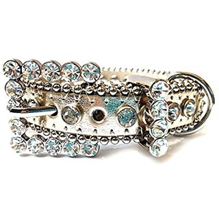Gold Leather Dog Collar with a Row of High Quality Clear Rhinestones, Size XS