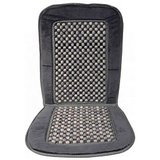 Car Wooden Bead Seat Grey Cushion With Velvet Border Universal Size