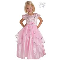 Little Adventures Royal Pink Princess Dress With Princess Hairbow Size 11-13 Yrs