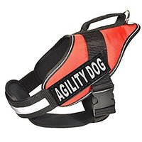 Dogline Alpha Nylon Service Vest Harness With Agility Dog Velcro Patches, X-Large, Red