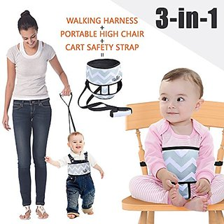 Umin 3 In 1 Travel/Home Portable High Chair Belt + Toddler Safety Walking Harness Wrap + Shopping Cart Safety Strap, Lig