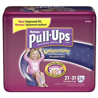 Pull-Ups Huggies Training Pants, Nighttime, Girls, 2T-3T, 24-Count (Pack Of 4)