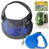 Green Bag Mesh Single-Shoulder Outdoor Pet Bag+16.5FT Retractable Dog Leash+Dog Waste Bags, Refill Roll (BLUE)