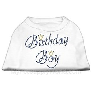 Mirage Pet Products 14-Inch Birthday Boy Rhinestone Print Shirt for Pets, Large, White