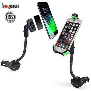 iMustech 2in1 Car Phone Holder with 2 USB Ports,Cigarette Lighter Socket and Magnetic, Cigarette Quick Charge, Phone Hol