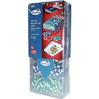 Pavilion Poker Chip Game - 100 CHIPS RELOADER WITH 2 DECKS OF CARDS - 11.5 GRAMS PER POKER CHIP
