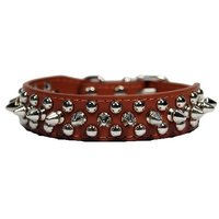 Pet Premium 1 Inch Width Spikes Studded Pet Dog Collar (Brown, XS)