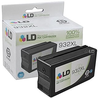 LD © Remanufactured Replacement Ink Cartridge with Pigment Ink for Hewlett Packard CN053AN (HP 932XL) High-Yield Bl