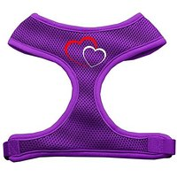 Mirage Pet Products Double Heart Design Soft Mesh Dog Harnesses, Small, Purple