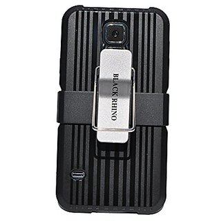 Galaxy S5 Case Black Protective Combo Case with Belt Clip and Adjustable Kickstand Tough Armor Heavy Duty Skin Case Cove