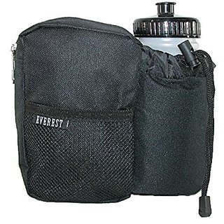 Everest Fabric with Sports Bottle Waist Pack, Black w/Bottle