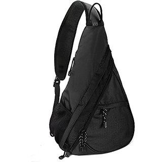 Shoulder Chest Crossbody Sling Bag Pack Backpack for Men Women Girls Boys (Black)