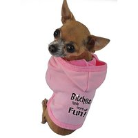 Ruff Ruff And Meow Dog Hoodie, Bitches Have More Fun, Pink, Extra-Small
