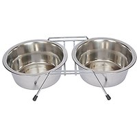 Iconic Pet 2-Cup Stainless Steel Double Diner With Wire Stand For Dog Or Cat, 16-Ounce
