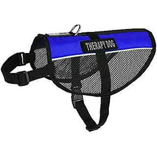 Dogline MaxAire Multi-Purpose Mesh Vest for Dogs and 2 Removable Therapy Dog Patches, Large, Blue