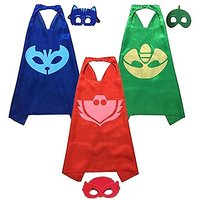 KoolKidz PJ Masks Costumes For Kids Catboy Owlette Gekko, 3 Satin Capes And 3 Felt, Set Of 3