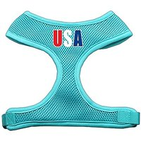 Mirage Pet Products USA Star Screen Print Soft Mesh Dog Harnesses, X-Large, Aqua