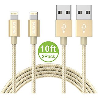 ONSON iPhone Cable,2Pack 10FT Nylon Braided Lightning Cable USB Cord Charging Cable for iPhone 7/7 Plus,6/6S/6 Plus/6S P