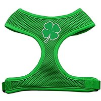 Mirage Pet Products Shamrock Screen Print Soft Mesh Dog Harnesses, Large, Emerald Green