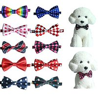 Yagopet 10pcs/Pack Pet Dog Bow Tie Dog Neckties Double Layers Mix Varies Patterns Cat Dog Bowtie Collar Neckties Adjusta