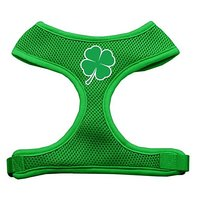 Mirage Pet Products Shamrock Screen Print Soft Mesh Dog Harnesses, Medium, Emerald Green