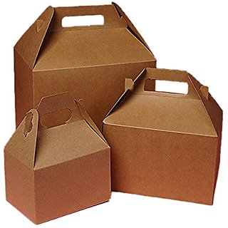 Cardboard Mini Kraft Gable Boxes 4 X 2-1/2 X 2-1/2 - Bakery Boxes - 10 each by Paper Mart