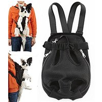 CatYou Pet Front Mesh Dog Durable Travel Carrier Bag Backpack Pack Legs Out For Dog Cat Pet (Black, M)