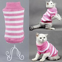 Bolbove Pet Stripes Turtleneck Sweater For Small Dogs & Cats Knitwear Cold Weather Outfit (Pink, X-Small)